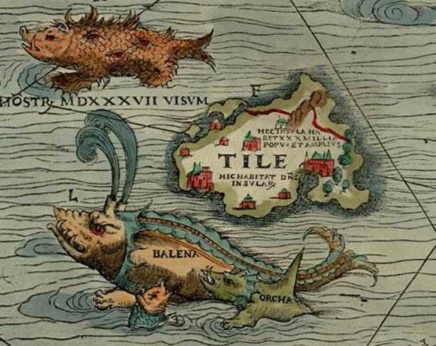 """Thulé, sous le nom de """"Tile"""", d'après la """"Carta Marina"""" de Olaus Magnus, (1539), source : wikipedia"""