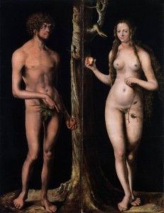 """Lucas CRANACH, """"Adam et Eve"""", (1508-10), Musée des Beaux-Arts et d'Archéologie, Besançon (WGA)"""