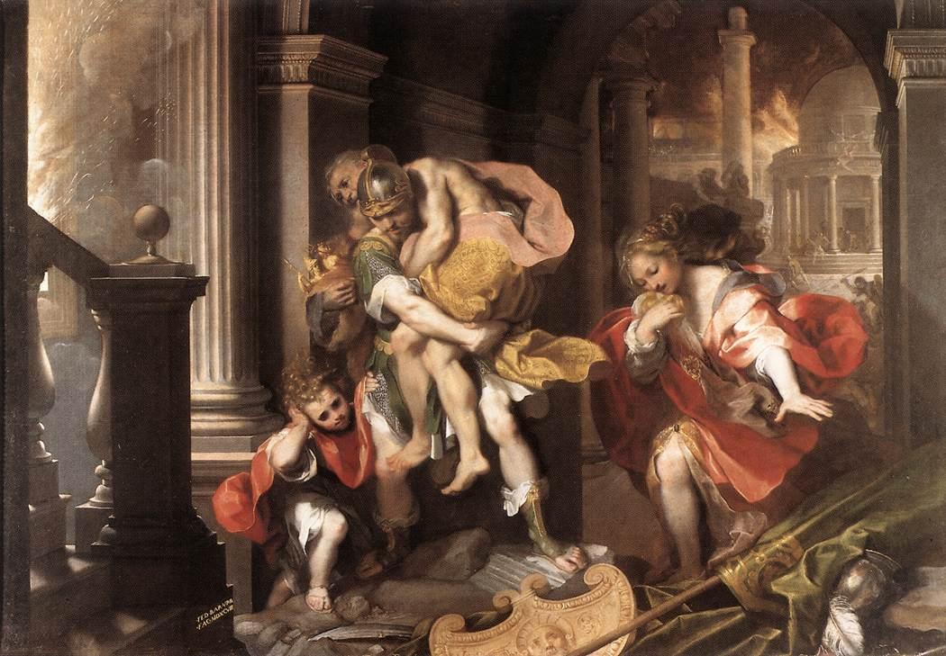 Federico Fiori Barocci, La fuite d'Enée, 1598, Galleria Borghese, Rome (source : wga)
