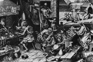 "Pieter l'Ancien BRUEGEL, ""L'Alchimiste"", (s. d.), Londres, British Museum (source : WGA)."