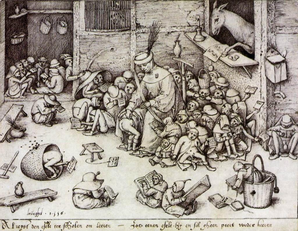 """Bruegel Pieter, """"L'Ane à l'école"""", (1556), Berlin, Staatliche Muzeen zu Berlin, (WGA)"""