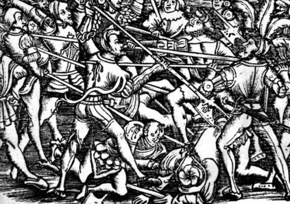 """Batalla de Iñaquito y muerte del virrey Blasco Núñez Vela (18 de enero de 1546), """"Historia General de las Indias y del Nuevo Mundo"""", por Francisco López de Gomara. impresa por Agustín Millán en Zaragoza. Año 1554. (source: wikicommons)"""