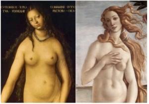 """À gauche : CRANACH, """"Vénus et Cupidon"""" (détail) ; à droite : BOTTICELLI, """"La Naissance de Vénus"""" (vers 1485), Galerie des Offices, Florence (WGA)."""