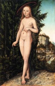 """Lucas CRANACH l'Ancien, """"Vénus debout dans un paysage"""", (1529), Musée du Louvre, Paris (WGA)"""