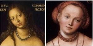 """À gauche : CRANACH, """"Vénus et Cupidon"""", 1509 (détail) ; à droite : CRANACH, """"L'Allégorie de la Justice"""", 1537 (WGA)."""