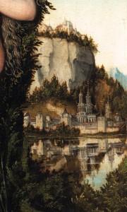 """Lucas CRANACH l'Ancien, """"Vénus debout dans un paysage"""", (détail), 1529 (WGA)"""