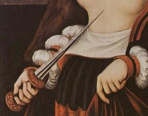 """Lucas Cranach, """"Mort de Lucrèce"""" (détail), 1529, (source : Flickr)."""
