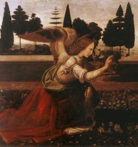 Leonard de Vinci, Annonciation (détail), 1472-75, Florence, Galerie des Offices (WGA)