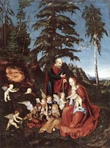 """Lucas CRANACH l'Ancien, """"Le repos pendant la fuite en Egypte"""", (1504), Staatliche Museen, Berlin (WGA)."""
