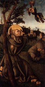 """Lucas CRANACH l'Ancien, """"La stigmatisation de St François"""" (vers 1502), Österreichische Galerie Belvedere, Vienne (source : Web Gallery of Arts)."""