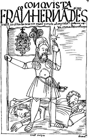 Francisco Hernández Girón, encomendero español que se rebeló en el Perú en 1553 contra la autoridad real. Según dibujo de Guamana Poma de Ayala. (source: wikipedia)
