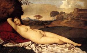 """GIORGIONE, """"Vénus endormie"""", (vers 1510), Gemäldegalerie, Dresde (WGA."""
