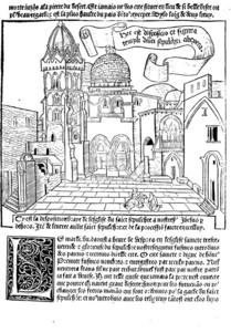 """Gravure du Saint-Sépulcre de Jérusalem tirée des """"Sainctes peregrinations de Jerusalem et ses environs"""", Lyon, Michelet Topie et Jacques Heremberck, (1488), source : Gallica."""