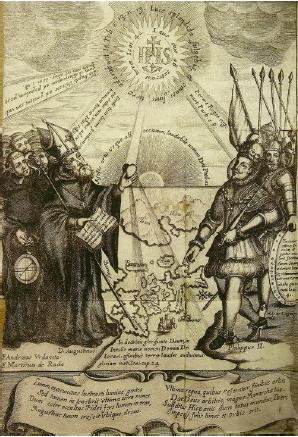 Illustration de Nicolo Billy pour l'ouvrage de Fr. Gaspar de San Agustín, « Conquista de las Islas Philipinas… ». Madrid, 1698.