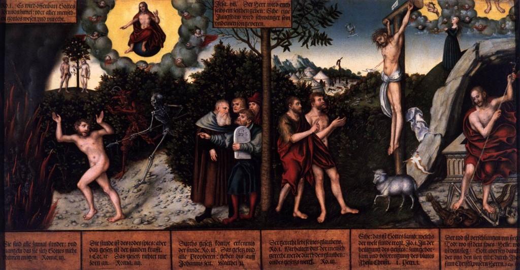 "Lucas Cranach l'Ancien, ""La Loi et l'Evangile"", (1529), Schlossmuseum, Gotha (WGA)."