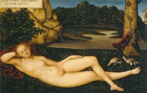 "Lucas CRANACH l'Ancien, ""Nymphe allongée"" (1530-34), Museo Thyssen-Bornemisza, Madrid (WGA)."