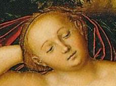 """Lucas CRANACH l'Ancien, """"Nymphe allongée"""", 1530-34, (détail), Museo Thyssen-Bornemisza, Madrid."""