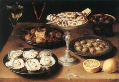 Osias Beert, Nature-morte avec des huîtres et des pâtisseries, Staatsgalerie, Stuttgart, 1610 (source : wga)