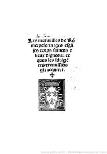 """Page de titre des """"Maravilles de Rome"""", Rome, E. Guillery de Loregne, (1519), source : Gallica."""
