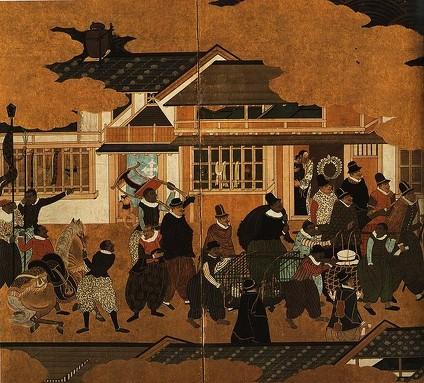 Paravent décrivant l'arrivée des marchands portugais au Japon. Attribué à Kanô Domi,1593-1600 (source : wikipédia)