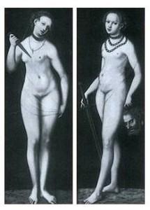 """Cranach, """"Lucrèce et Judith"""", reproduction de la photographie des deux panneaux perdus de Dresde"""