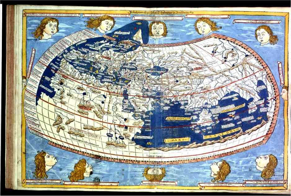 """John SCHNITZER, gravure du manuscrit de la """"Cosmographie"""" de Ptolémée, 1466, Bibliothèque Royale de Belgique (Inc. C 94 LP). (Source :http://www.encyclopedie-universelle.com/beatus-liebana14.html)"""