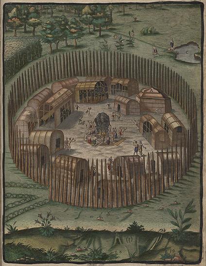 Theodore de Bry, Village indien de Pomelooc, (Wikipedia)
