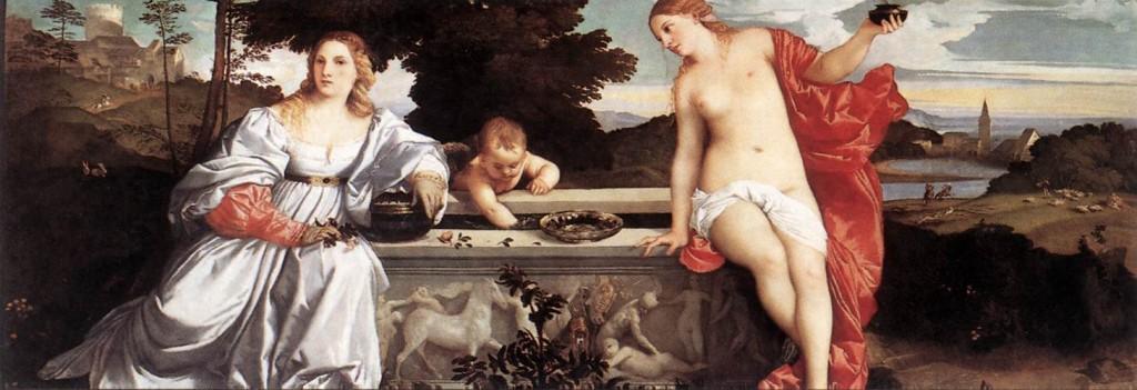 "LE TITIEN, ""Amour sacré, amour profane"", (1514), Galleria Borghese, Rome (WGA)."