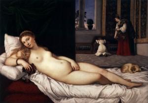 """LE TITIEN, """"La Vénus d'Urbino"""", (avant 1538), Galerie des offices, Florence (WGA)."""