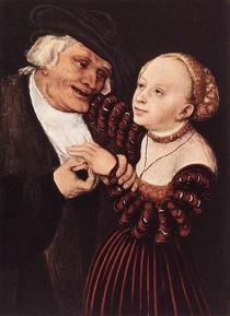 """Lucas CRANACH l'Ancien, """"Vieil homme et jeune femme"""", Kunsthistorisches Museum, Vienne (source : Web Gallery of Arts)."""