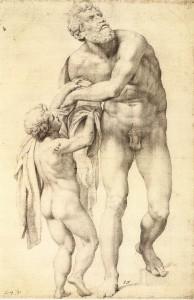 "Daniele DA VOLTERRA, ""Enée accompagné d'un enfant"", (1553-1556), Vienne, Graphische Sammlung Albertina (WGA)."