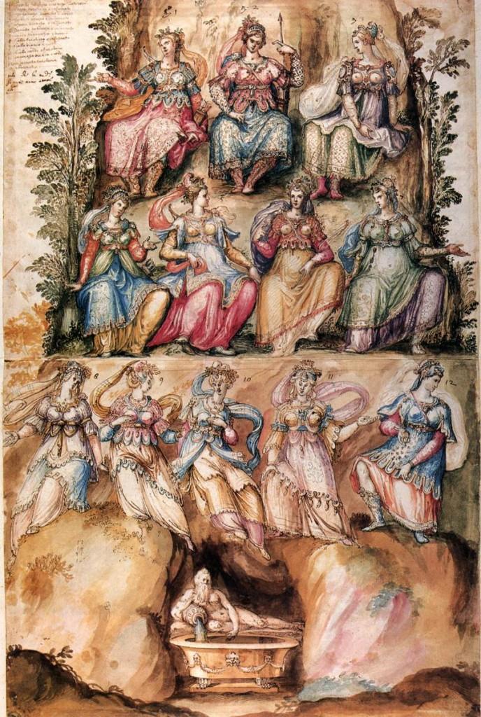 """Bernardo BUONTALENTI, """"Esquisses pour des costumes de fête"""", (1589), manuscrit, Florence, Biblioteca Nazionale Centrale (WGA)."""