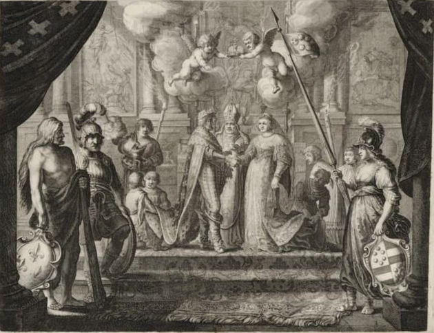 Anonyme, Mariage d'Henri IV et de Marie de Médicis : [estampe], BNF, (source : Gallica)