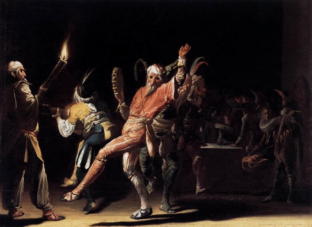 Willem Cornelisz Duyster, Clowns de Carnaval, c. 1620, Huile, 28 x 38 cm Staatliche Museen, Berlin (source : WGA)