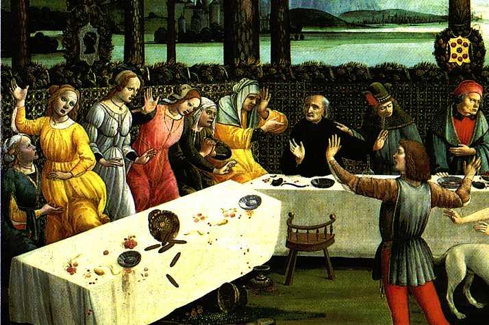 Sandro Botticelli, The Story of Nastagio degli Onesti (detail) c. 1483, Tempera  Museo del Prado, Madrid (WGA)