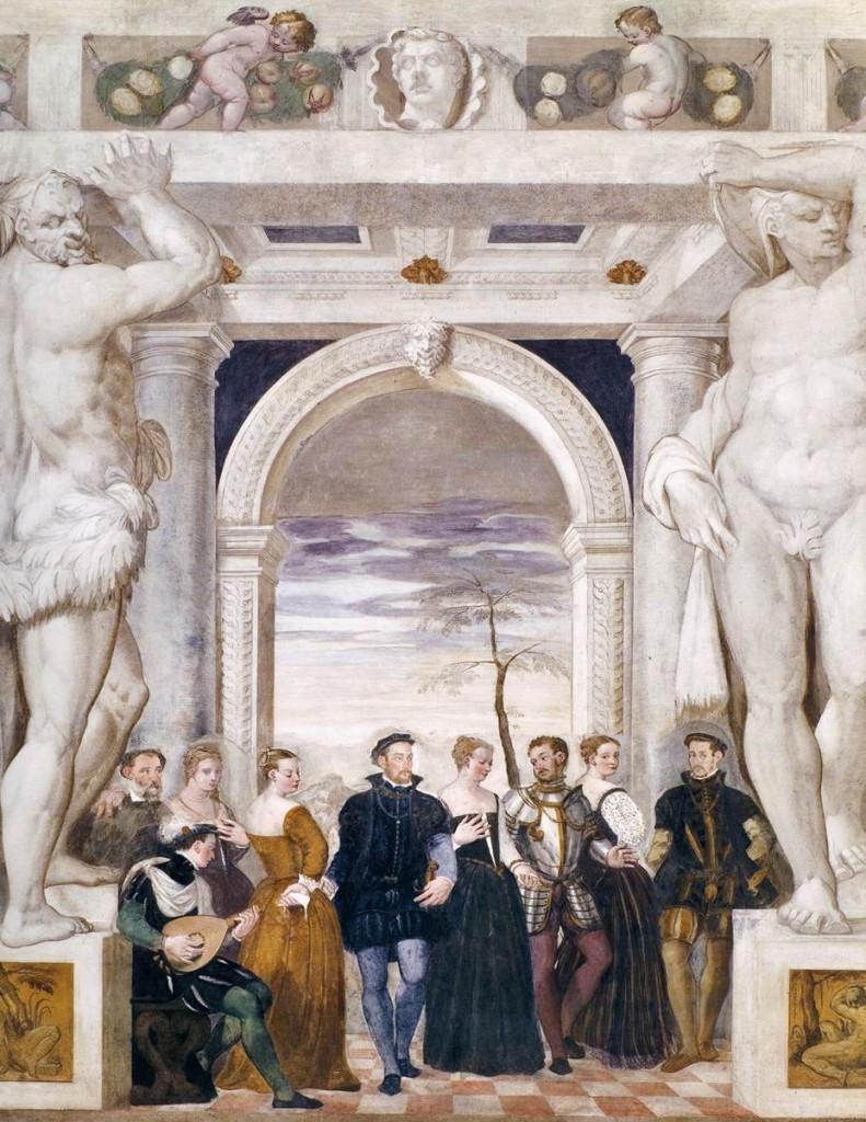 FASOLO, Giovanni Antonio, L'invitation à la danse, c. 1570, Freque Salone, Villa Caldogno, Caldogno