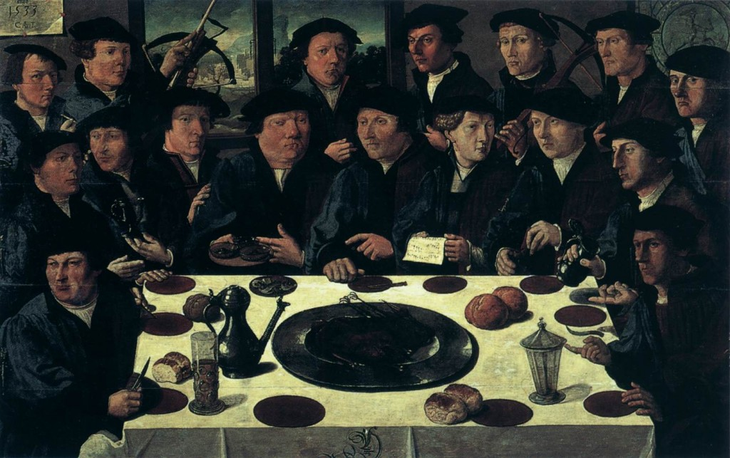 ANTHONISZ, Cornelis Banquet of Members of Amsterdam's Crossbow Civic Guard 1533 huile sur panneau, 130 x 207 cm Historisch Museum, Amsterdam (source WGA)