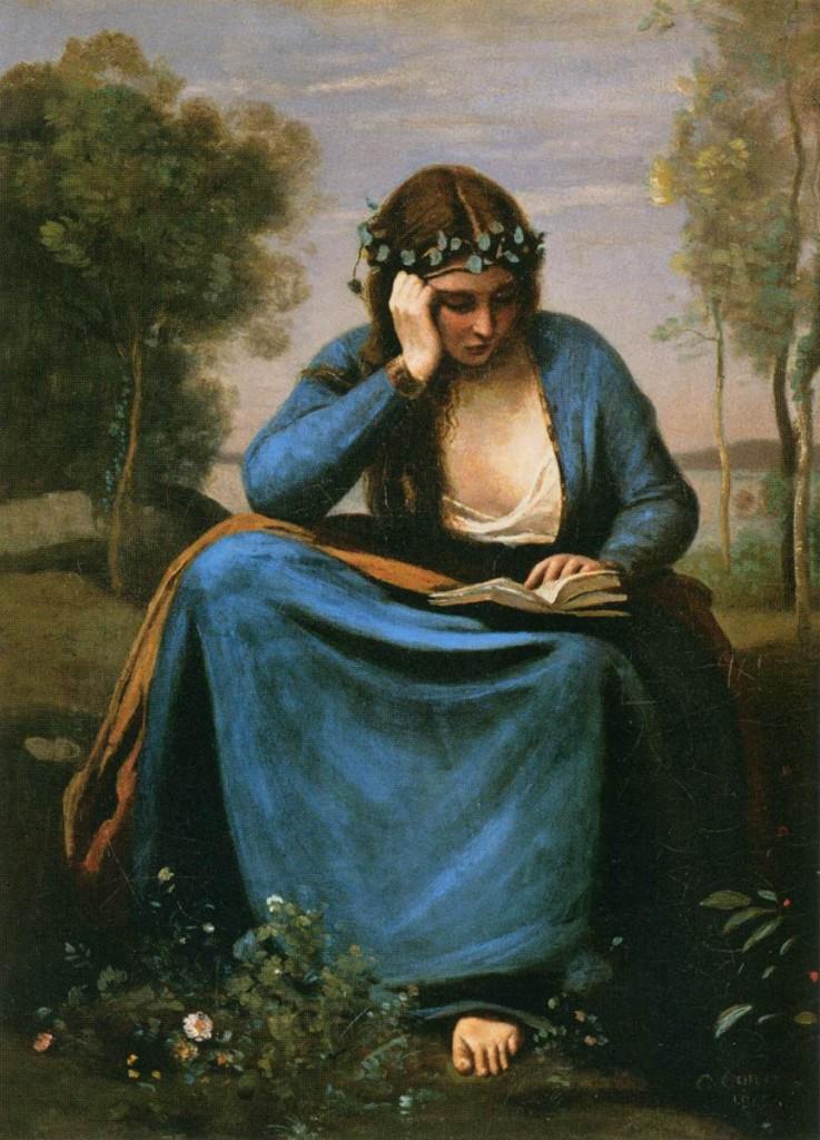 """Jean-Baptiste COROT, """"Liseuse couronnée de fleurs ou la muse de Virgile"""", 1845, Musée du Louvre, Paris (source : Web gallery of Art)."""