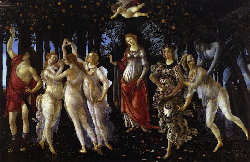 BOTTICELLI, Sandro, Primavera, c. 1482 Tempera on panel, 203 x 314 cm, Galleria degli Uffizi, Florence