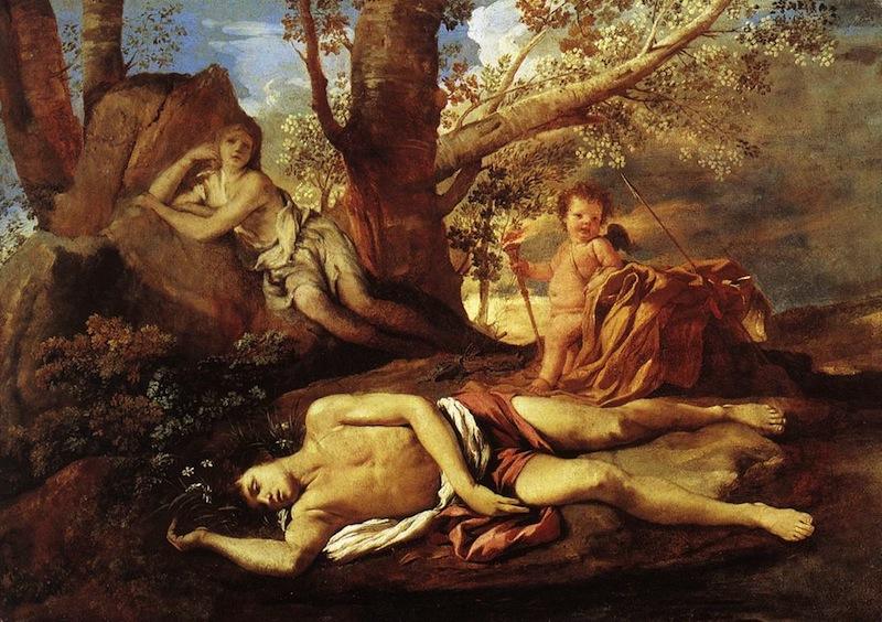 POUSSIN, Nicolas Echo et Narcisse, 1628-30, Huile sur toile, 74 x 100 cm Musée du Louvre, Paris