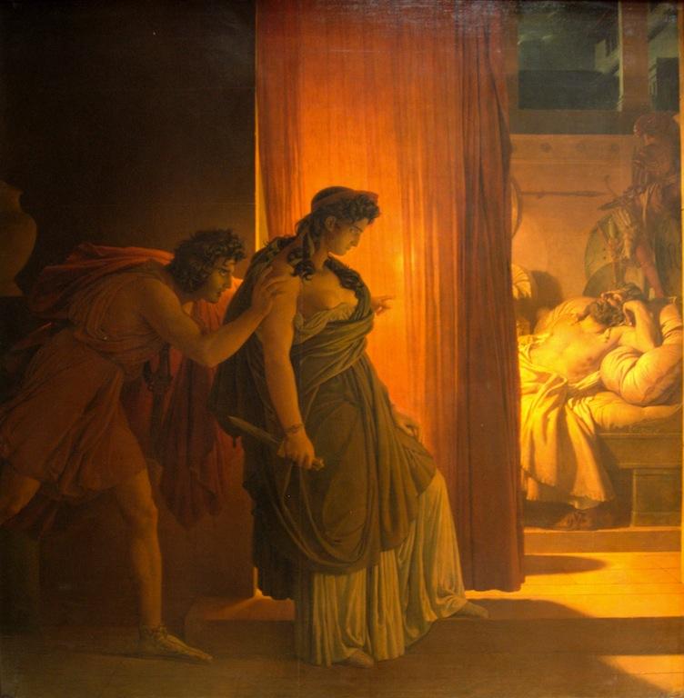 """Pierre-Narcisse Guérin, """"Clytemnestre hésitant avant de frapper Agamemnon endormi"""", 1817, Louvre (source : Wikipédia)."""