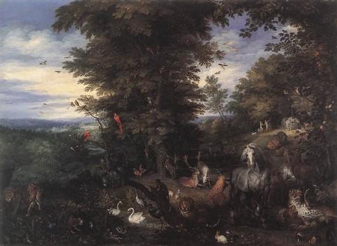 "BRUEGHEL l'Ancien, ""Adam et Eve dans le Jardin d'Eden"", (vers 1610), Windsor, Collection royale (source : WGA)."