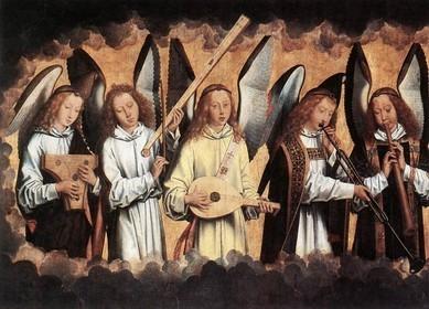 """Hans MEMLING, """"Les anges musiciens"""" (panneau gauche), (1480), Koninklijk Museum voor Schone Kunsten, Antwerp (Source : WGA)"""