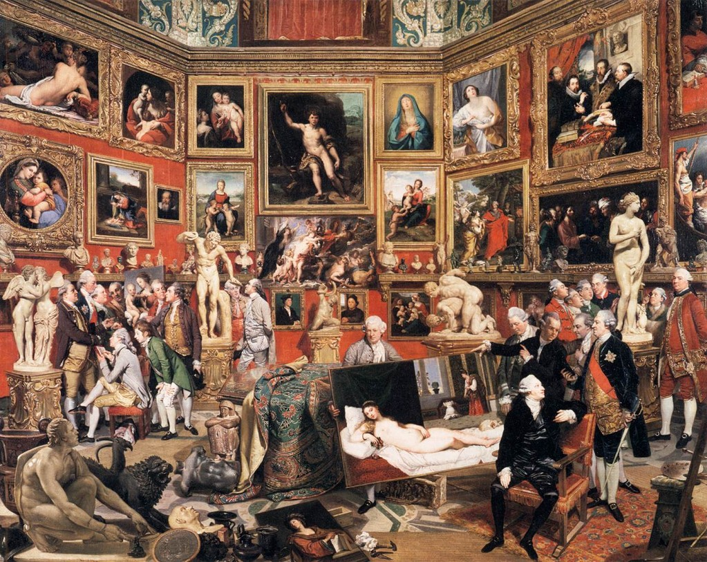 "Johann ZOFFANY, ""La Tribune des Offices"", 1772-78, Royal Collection, Windsor (source : WGA)."
