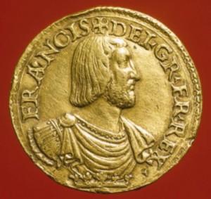 Essai de teston en or, 1529, Graveur : Matteo dal Nassaro, monnaie BnF.