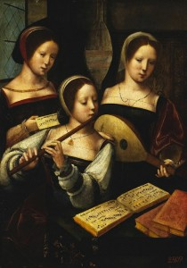 "Master of Female Half-lengths, "" Concert des femmes"" (1530-40), The Hermitage, St. Petersburg (Source : WGA)"