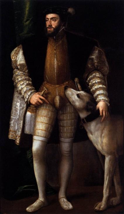 """Vecellio TIZIANO, """"Charles Quint et son chien"""" (1533), Madrid, Museo del Prado (source : WGA)."""