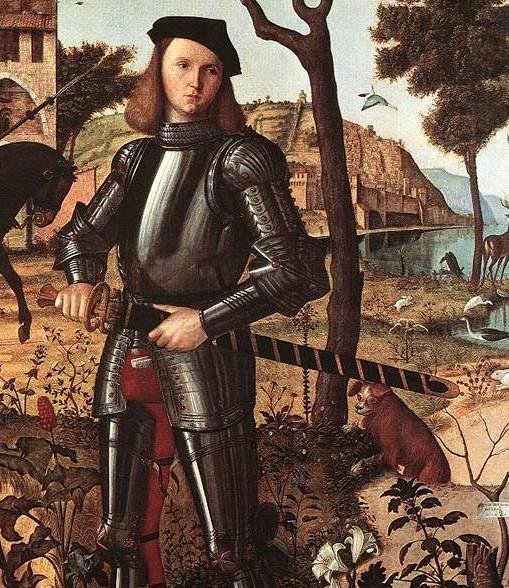 "Vittore CARPACCIO, ""Portrait d'un chevalier"" (détail), 1510, Museo Thyssen-Bornemisza, Madrid (source: WGA)."