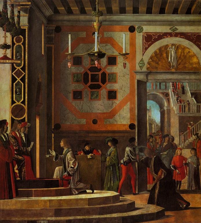 Vittore CARPACCIO, Le départ des ambassadeurs 1495-1500, Huile sur toile, 280 x 253 cm, Gallerie dell'Accademia, Venice (source : WGA)