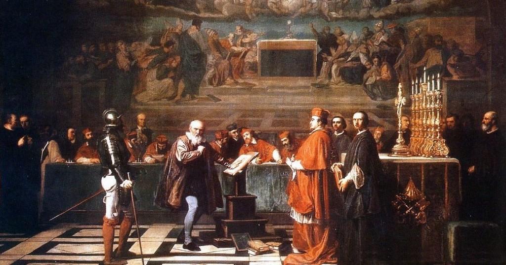 Joseph-Nicolas Robert-Fleury, Galilée face au tribunal de l'Inquisition Catholique Romain peint au XIXe siècle, Musée du Louvre (source : Wikipedia)
